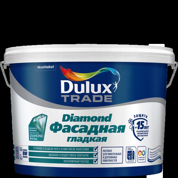 Краска DULUX TRADE Фасадная Гладкая 5л матовая белая BW