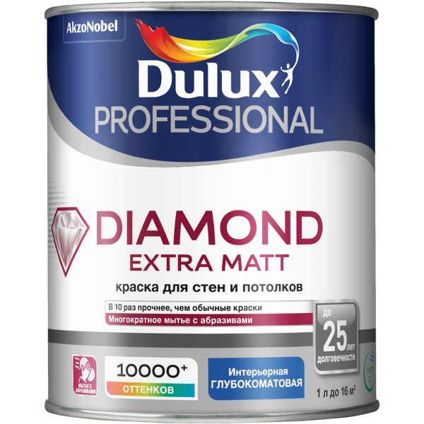 Краска DULUX TRADE Diamond Extra Matt 1л белая BW
