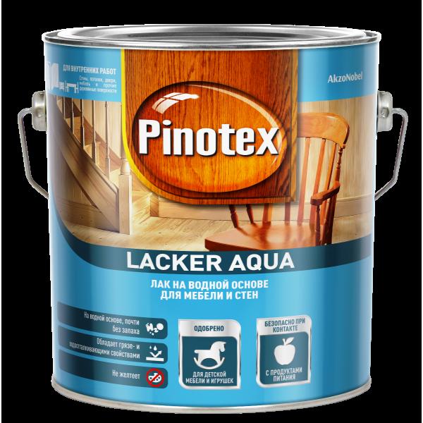 Лак для дерева на водной основе PINOTEX Lacker Aqua (пинотекс лакер аква) ГЛЯНЦЕВЫЙ (70) 2,7л