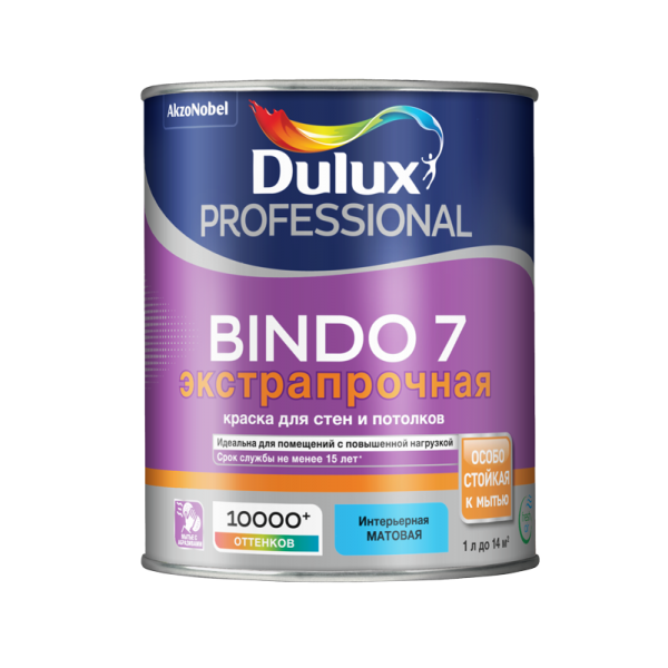 Краска DULUX Prof Bindo 7 матовая 1л для стен и потолков белая BW
