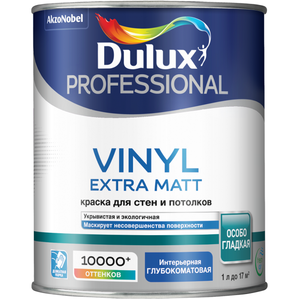 Краска DULUX TRADE Vinyl Matt 1л матовая белая BW