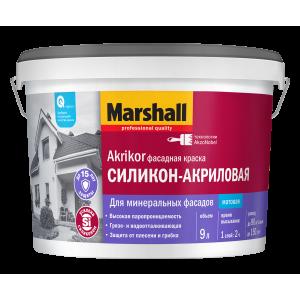 Краска MARSHALL Akrikor 9л фасадная силикон-акриловая BW