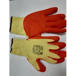 Перчатки х/б ЖЕЛТЫЕ с текстурированным латексным покрытием  на ладони (ОРАНЖЕВОЕ)  арт.NM10902