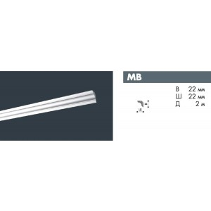 Плинтус потолочный NMC DECOPLINTUS MB экструд.22х22мм белый 180шт/кор