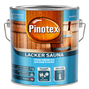 Декоративно-защитный лак PINOTEX Lacker Sauna 20 (полуматовый) 2,7л