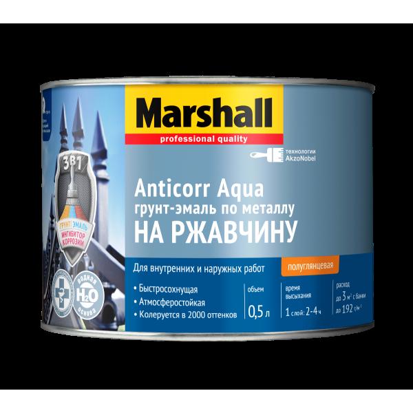 Грунт-эмаль 3в1 MARSHALL Anticorr Aqua 0,5л полуглянц. белая BW