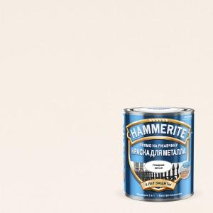 Краска по металлу HAMMERITE (хаммерайт) гладкая БЕЛАЯ 0,5л